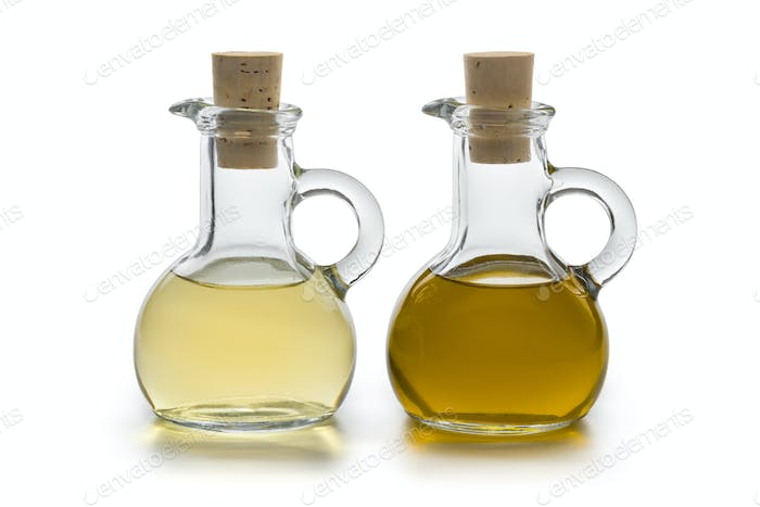 Glass bottles with oil and vinegar
