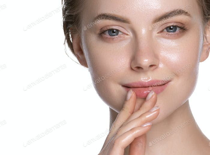 Glamour fresh touching young woman healthy hydration clean skin face. Isolated on white.