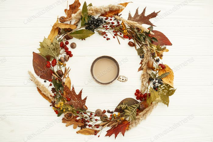 Coffee in Fall leaves circle