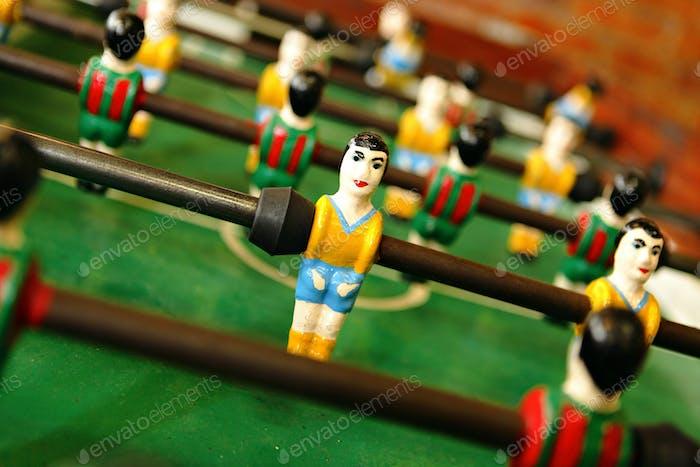 retro wooden foosball table