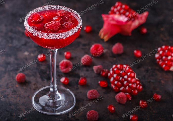Red alcoholic cocktail  in a glass