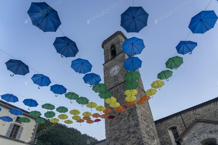 Colorful umbrellas at Bagno di Romagna, Italy