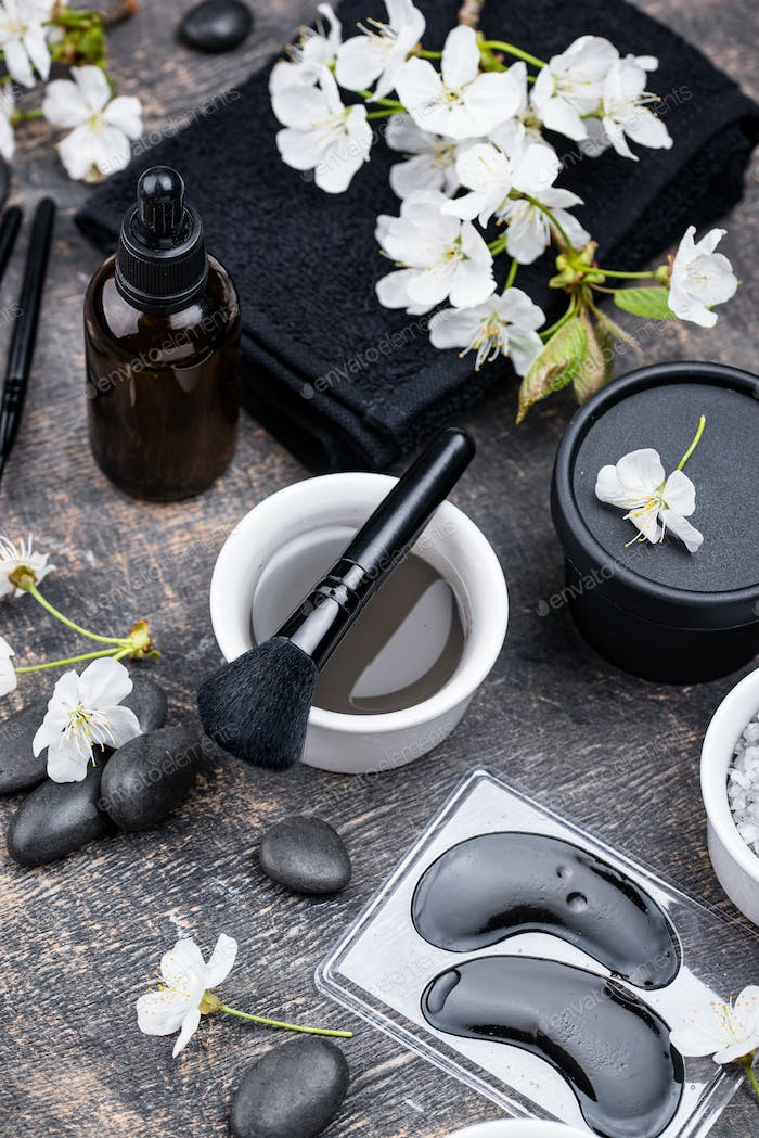 Set of black charcoal detox cosmetics