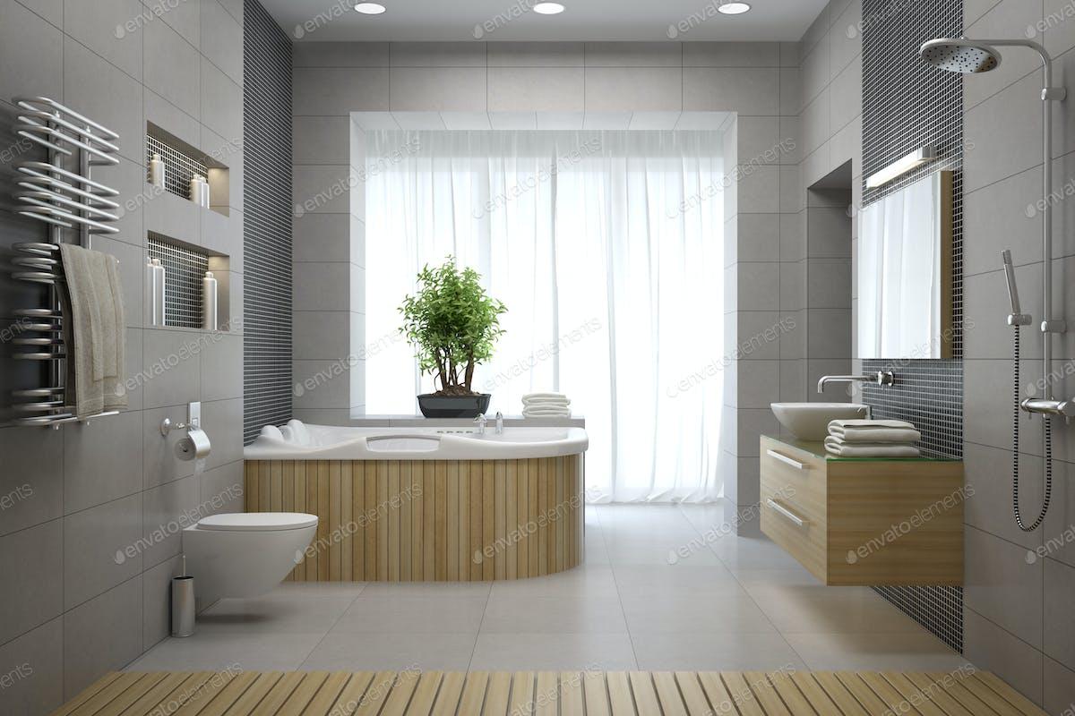 Interior of the modern design bathroom 3D rendering photo by hemul75 ...