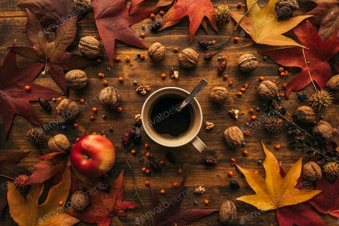 Herbst Kaffeepause, direkt über