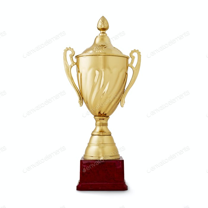 Golden shiny cup, reward for the winner, on white