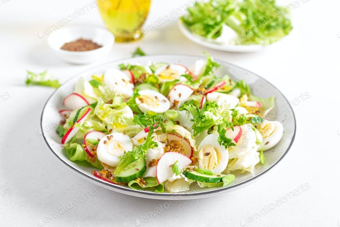 Fresh vegetable salad with cucumber, radish, lettuce and boiled eggs