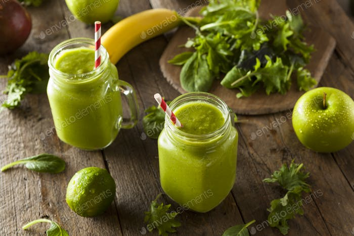 Healthy Organic Green Fruit Smoothie
