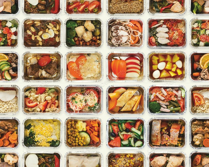 Nahtloses Set von Lebensmittelboxen zum Mitnehmen auf weißem Hintergrund