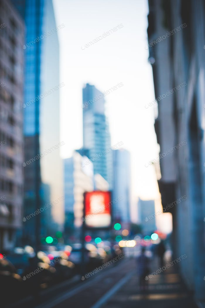 Intentionally blurred defocused filtered cityscape - traffic, ru