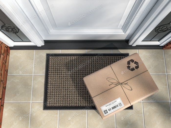 Express delivery, e-commerce online purchase concept. Parcel box on mat near front door.