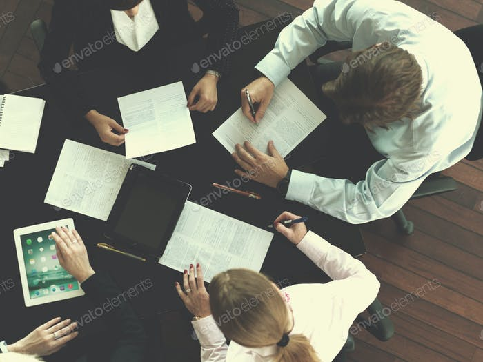 top view of business people group on meeting