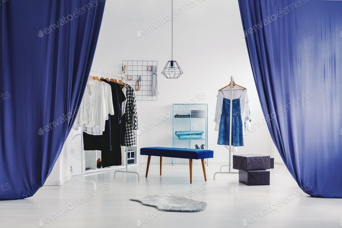 White and blue dressing room