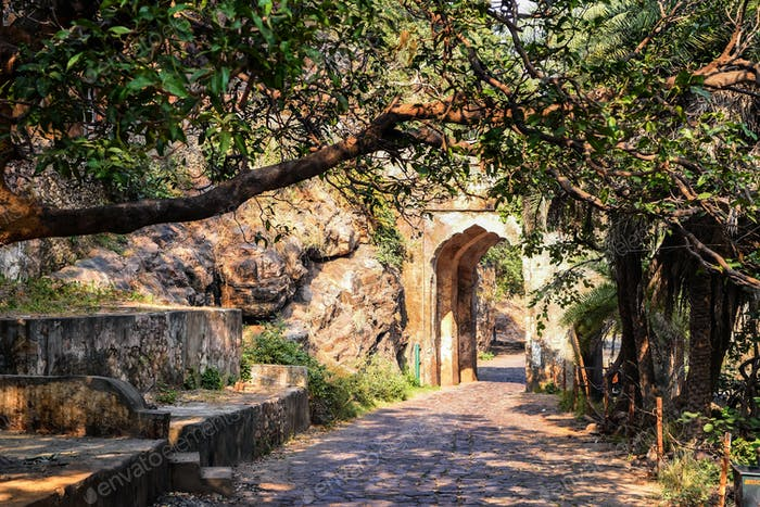 Archway and road in Ranthambore, India