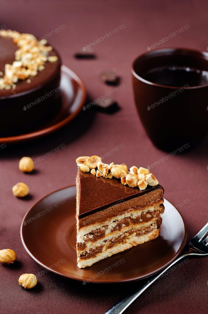 Merengue hazelnut chocolate cake