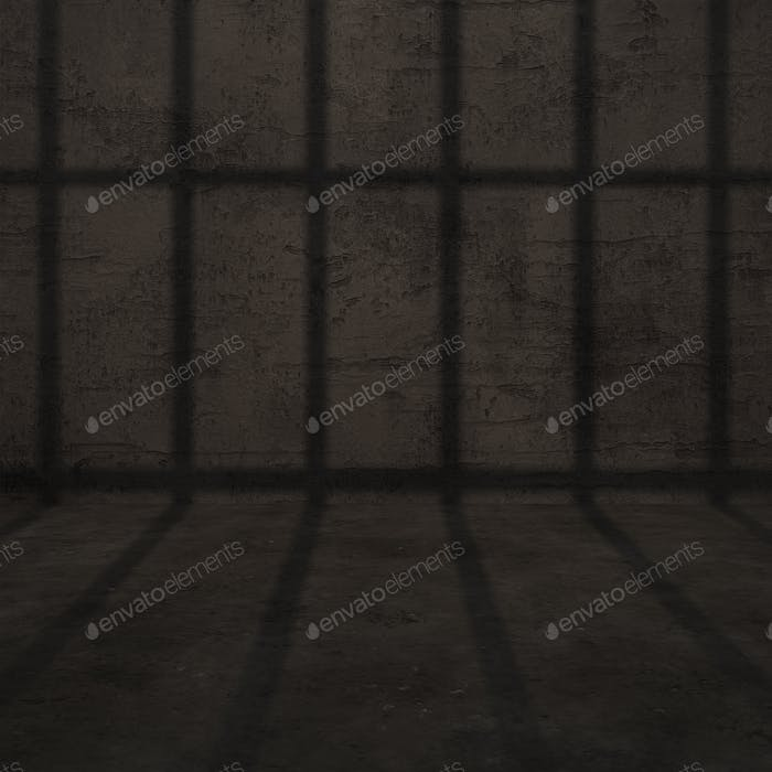 Prison Bar Shadow Cast on Concrete Wall
