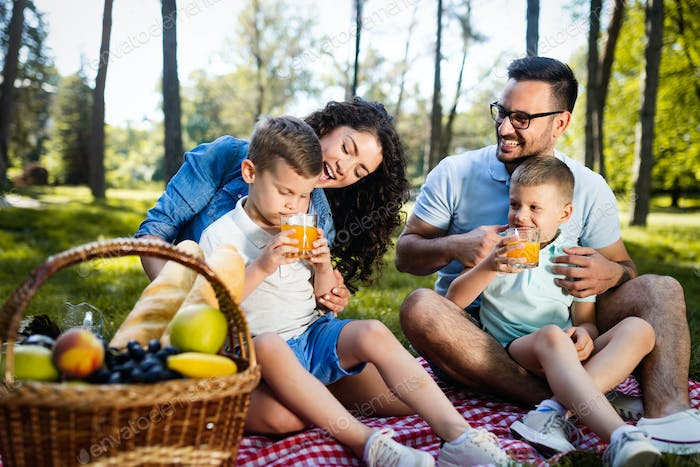 Family with children enjoying a summer day together outdoor