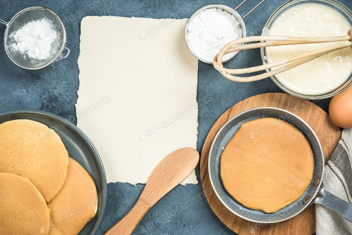 Ingredients for pancakes with copy space for recipe