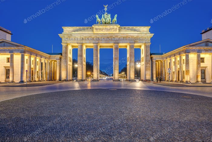 The illuminated Brandenburger Tor in Berlin