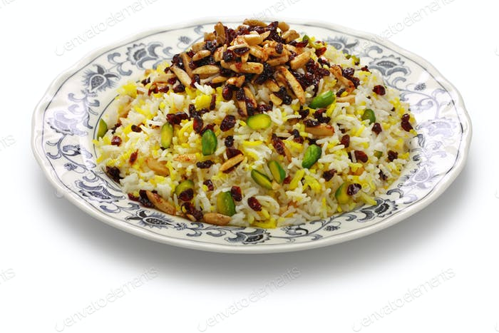zereshk polo, barberry rice, iranian persian cuisine