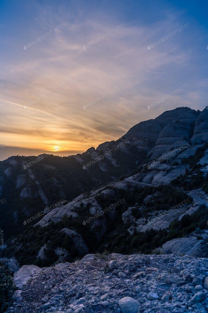 Sunset in Mountains of Montserrat