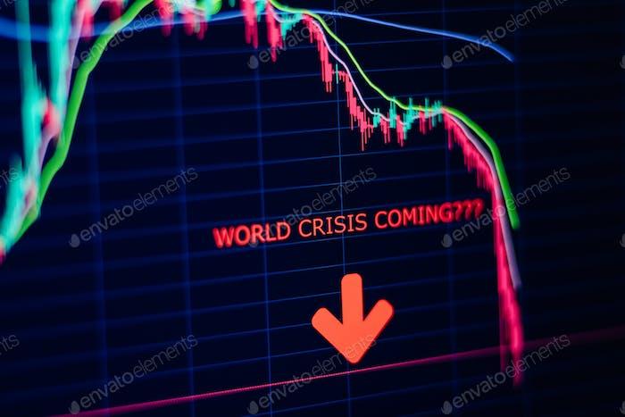 crisis económica pánico crisis bursátil gráfico de caída