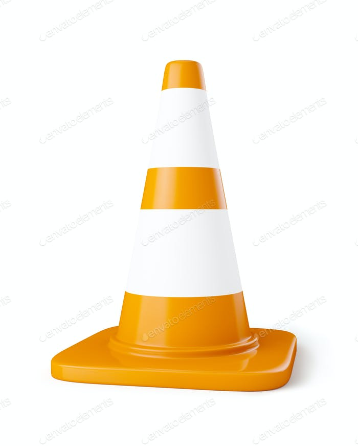 Orange highway traffic construction cone with white stripes