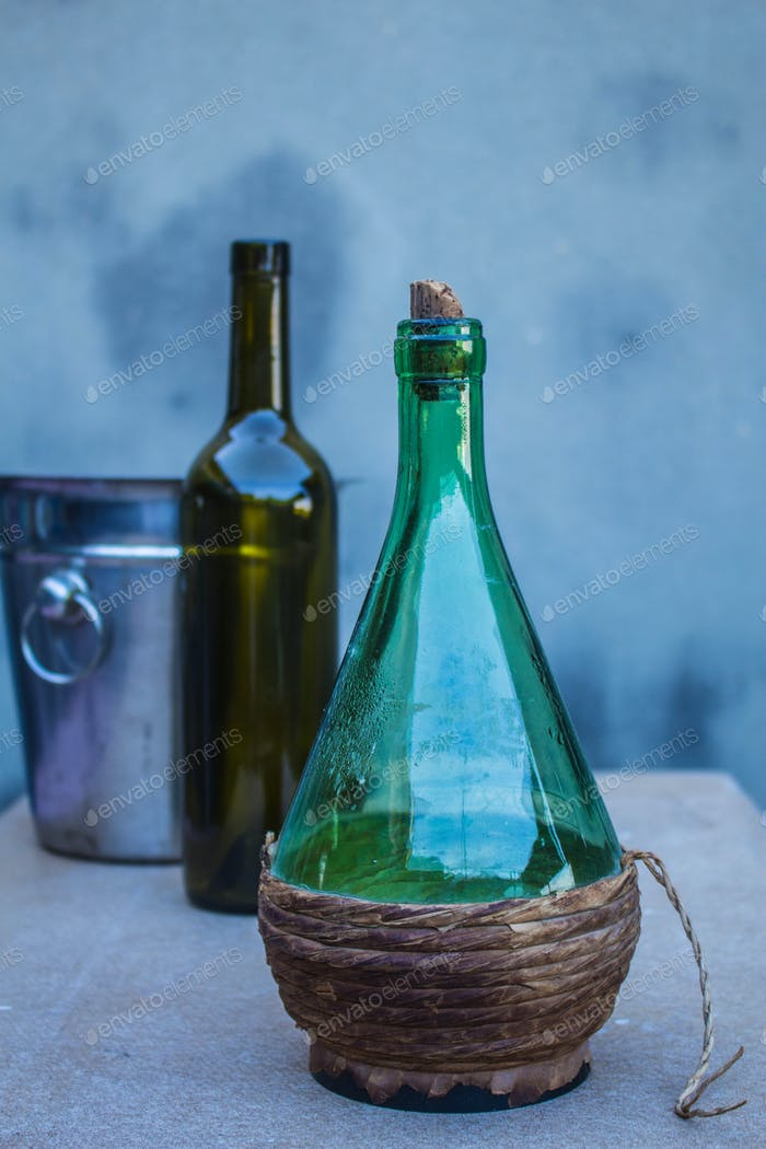 bottle on dinner table.