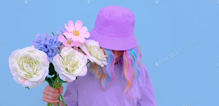 Summer aesthetic Flowers Girl. Blooming romantic vibes. Vanilla colors design