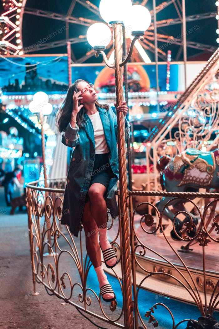 Girl in an amusement park