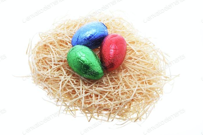 Easter Eggs on Straw Nest