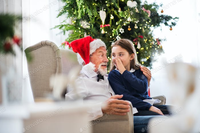 A small girl telling a secret to her grandfather with Santa hat at Christmas time.