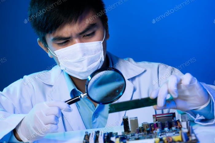 Examining motherboard
