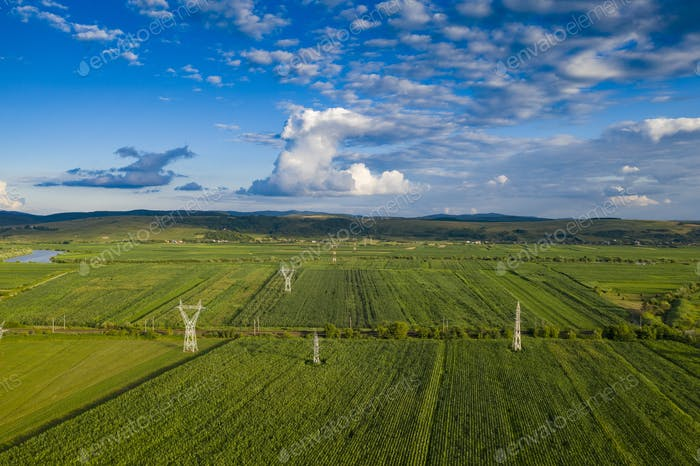 Romanian countryside drone view.