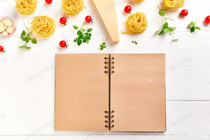 Healthy Italian food cooking concept, Blank notebook