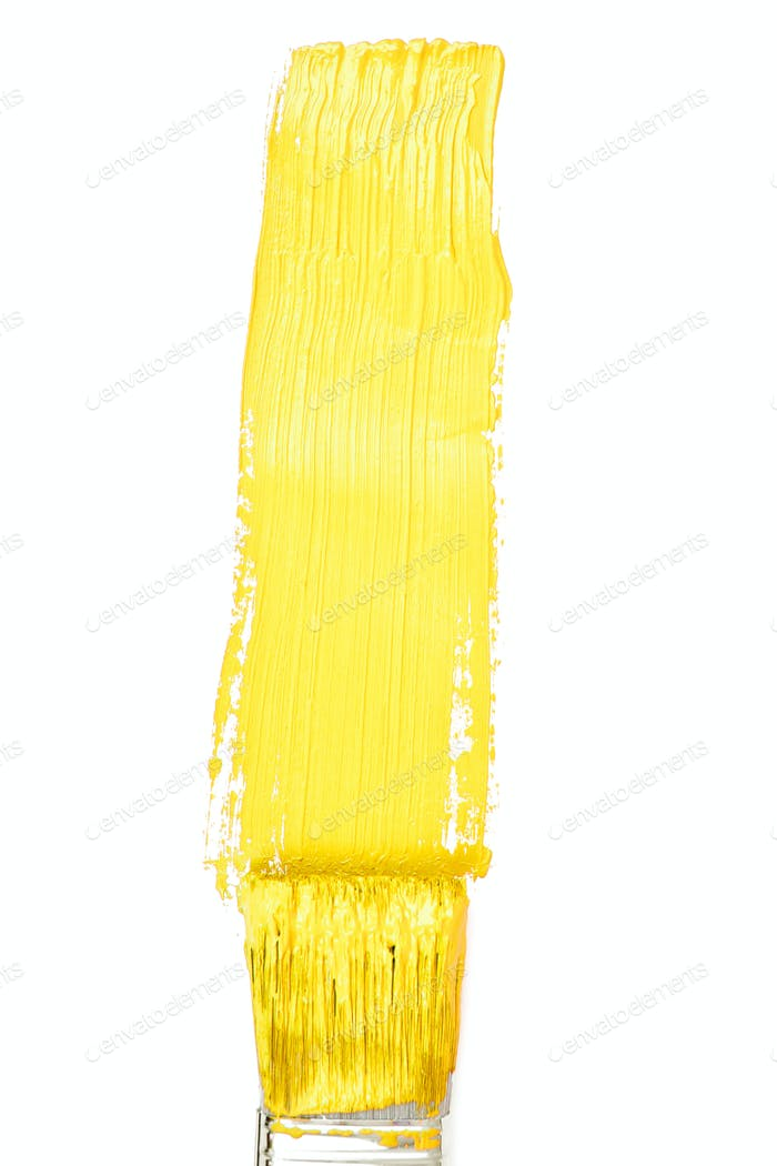 Yellow vertical line of painting against a white background