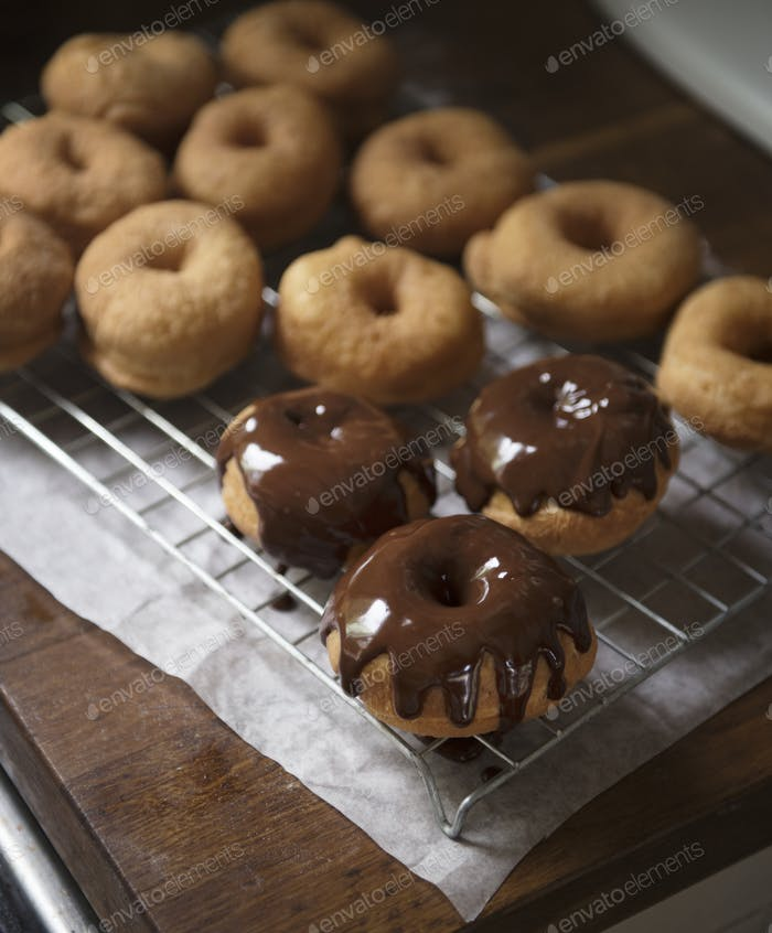 Homemade chocolate doughnuts food photography recipe idea