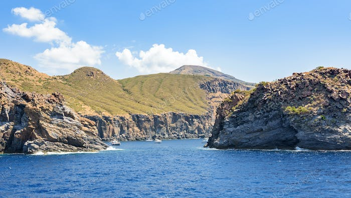 Picturesque bay at Vulcano Island