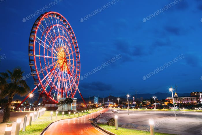 Batumi, Adjara, Georgia. Ferris Wheel At Promenade In Miracle Pa