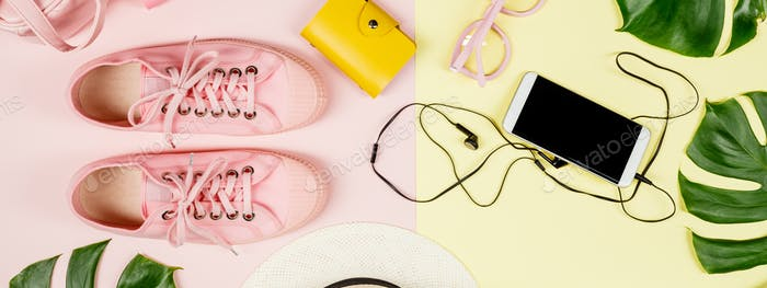 Flat lay with trendy accessories, close up