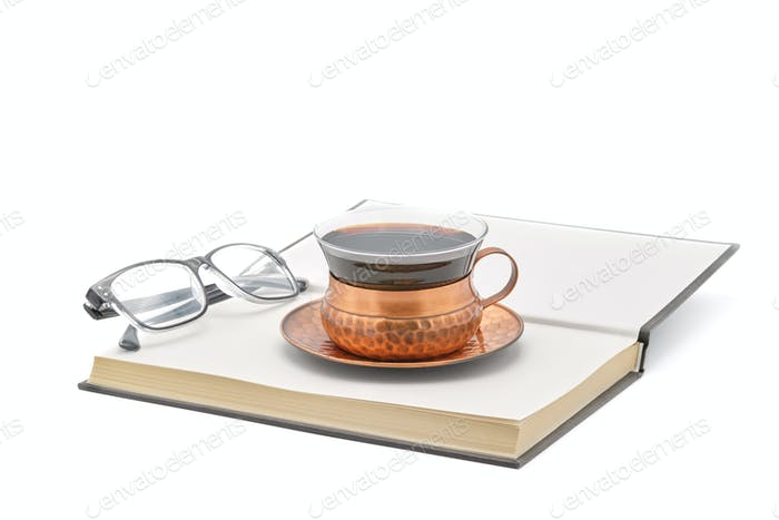 Coffee with Book and Reading Glasses
