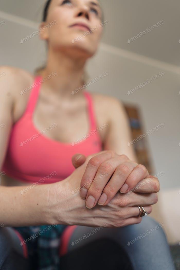Closeup woman hands