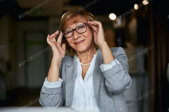 Portrait of cute lady looking at camera