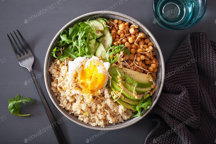 quinoa bowl with egg, avocado, cucumber, lentil. Healthy vegetarian lunch