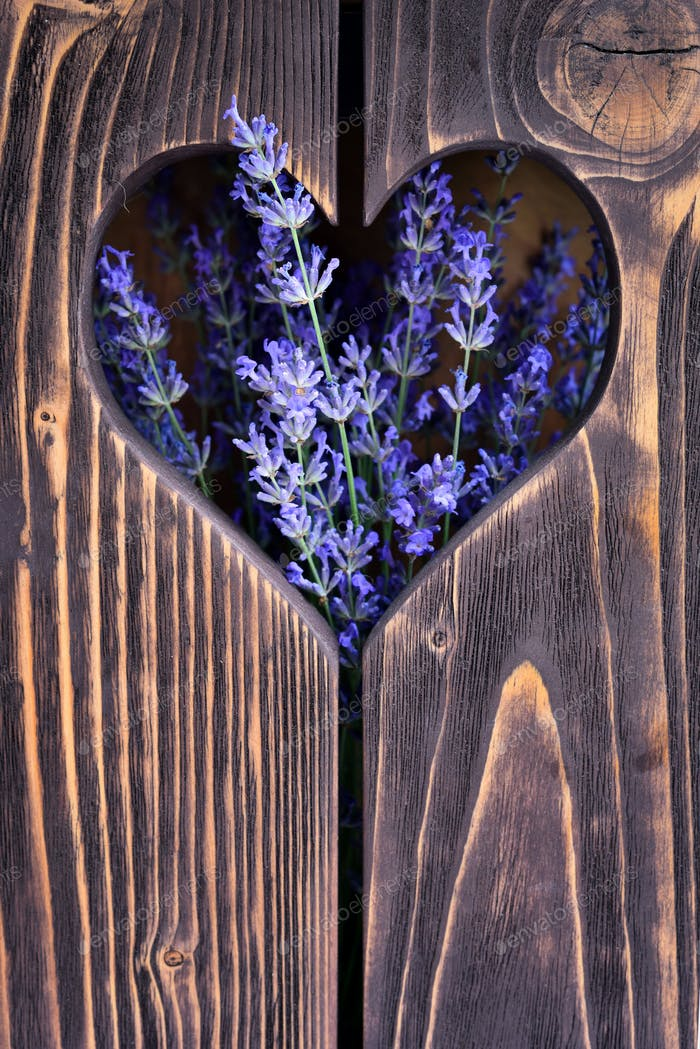 Wooden background with heart and flowers of lavender
