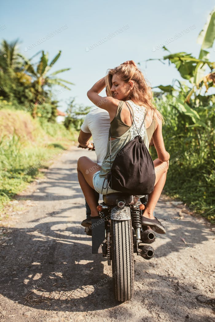 Young couple on motorcycle