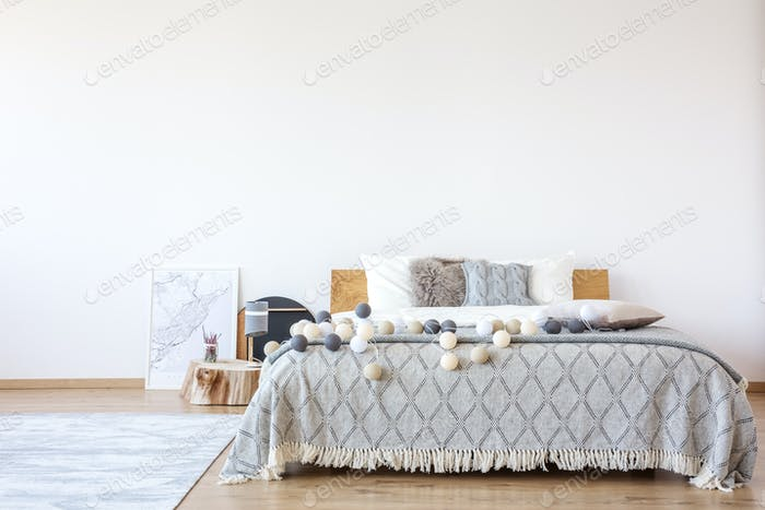 Bed with cotton balls