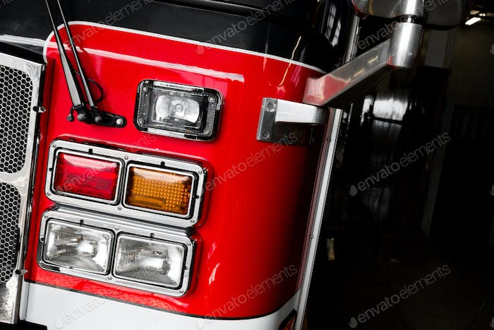 Firetruck Details of the Front and Lights