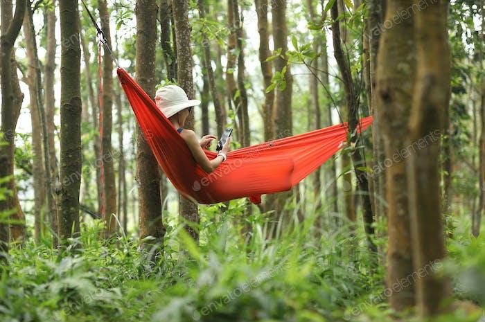 Hammocking in rainforest