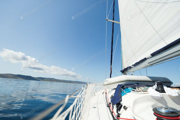 Portrait of sailing boat on open sea